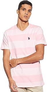 U.S. POLO ASSN. Men's V-Neck Short Sleeve Striped T-Shirt