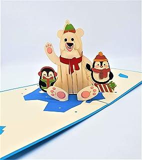 BC Worldwide Ltd Biglietto di Natale pop-up 3D fatto a mano Buon Natale Orso polare Pinguino Ghiaccio origami vintage salu...