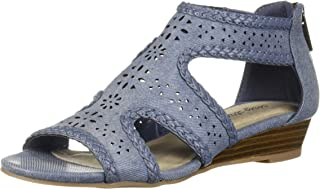 Easy Street Women's Thelma Dress Casual Sandal with Back Zipper Wedge, Denim Linen, 8.5 2W US