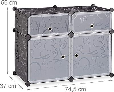 Relaxdays Étagère 4 cubes rangement DIY armoire compartiments plastique chaussures modulable 56 x 75 x 37 cm, noir, 37 x 74,5 x 56 cm