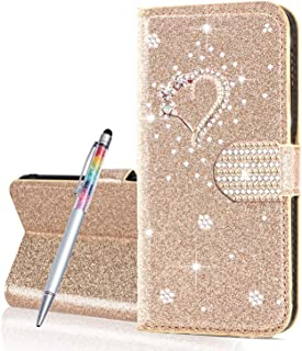 Finemoco Cover per Xiaomi Redmi Note 7 Pro Custodia in PU Pelle Portafoglio a Libro Magnetica Flip Cover Brillantini Glitter Sottile Case con Porta Carte Funzione Stand Antiurto Protettiva Cover,Viola