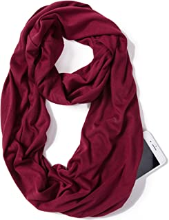 Elzama Infinity Solid Color Scarf with Hidden Zipper Pocket for Women Lightweight Travel Wrap