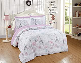 Luxury Home Collection Kids/Teens/Girls 5 Piece Twin Size Comforter Bedding Set/Bed in A Bag with Sheets Floral Paris Eiffel Tower Flowers White Pink Grey Blue