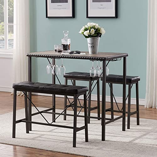 new arrival O&K FURNITURE Bar Table and Chairs Set online sale of 4, Industrial Dining Table Set with Glass Holder, Kitchen Table with Upholstered Bench and Stools, discount Counter Height Pub Table Set for Small Space(Gray) outlet sale