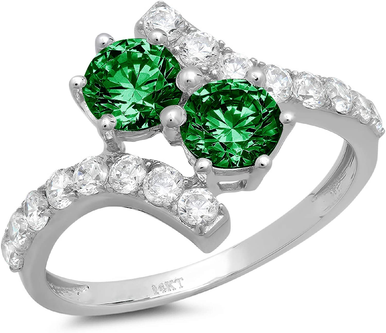 1.95ct Round Cut 2 stone love Simulated Flawless CZ trend rank Solitaire Gr Denver Mall
