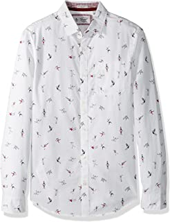 Original Penguin Men's Long Sleeve Clumsy Skaters Print, bright white, Large