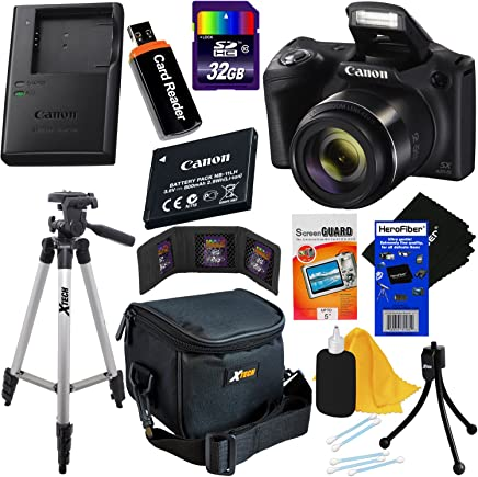 Canon Powershot SX420 IS 20 MP Wi-Fi Digital Camera with 42x Zoom (International Version) + NB-11L Battery & AC/DC Battery Charger + 9pc 32GB Deluxe Accessory Kit w/ HeroFiber (32GB KIT, Black)