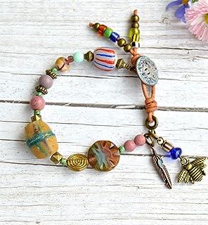 Bracciale per donna fatto a mano con perline e ciondoli, gioielli boho chic