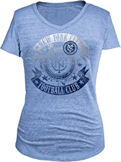 MLS New York City FC Women's Tri-Blend Short Sleeve V-Neck Tee, Blue, Medium