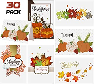 Fall Thanksgiving Cards - 30 Fall Maple Leaves Pumpkin Thank You Cards Set with 30 White Envelopes - Blank Inside - Autumn Fall Party, Thanksgiving Supplies, 4 x 6 Inches