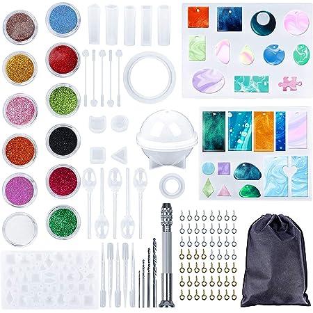 Sfit 5 PCS Moule Resine Bijoux Resin Kit Moulage Outils Ensemble R/ésine Silicone Bijoux Moulage Outils Ensemble R/ésine Silicone Moule Tasses /à Mesurer /à Fleurs S/éch/ées Paille