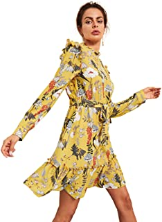 Floerns Women's Long Sleeve Ruffle Trim Self Tie Floral Print Short Dress
