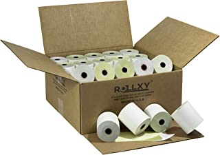Pospaperroll 3'' x 95' White/Canary 2 Ply Carbonless Paper Cash Register Receipt Rolls for Axiohm A714 Datamega TM300 Hypercom T77F (Impact Printer) IBM SUREONE Ithaca Per. PcOS 150, Ithaca 151, Ithaca 152, Ithaca 153 LinkPoint 1000A