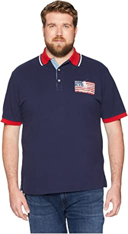 Big & Tall American Flag Pique Polo