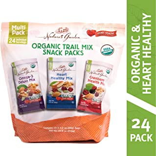Nature's Garden Organic Trail Mix, Omega-3 Deluxe, Heart Healthy, Cranberry Health, Vegan, Gluten Free, Cholesterol Free, Sodium Free, No Artificial Ingredients, Snack Packs , 28.8 oz