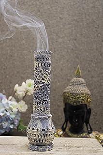 Carry Me Hand Carved Soapstone Incense Holder / Candle Holder / Tea Light Holder in Floral Jaali Work in Bottle Shape, Mad...