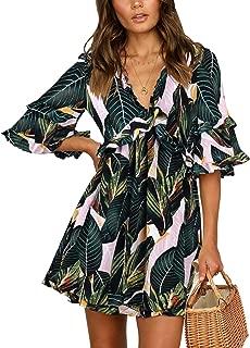 BELONGSCI Women's Sumer Dress V-Neck Bell Sleeve Backless Ruffles Ruffles Sweet Dress Short Mini Dress Causal Shift Dress