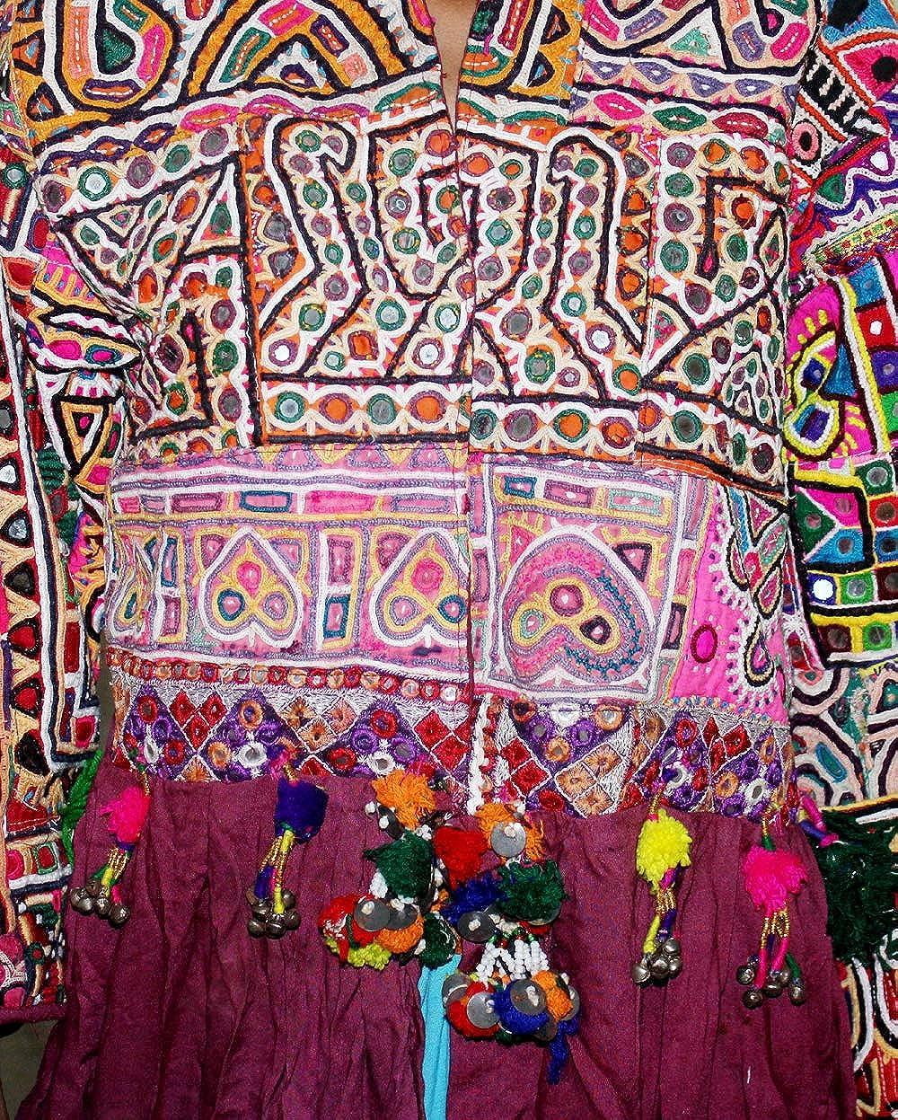 Lakkar Haveli Women's 100% Cotton Banjara Jacket Ethnic Girl's Jacket Burgundy Color Indian Casual Outwear