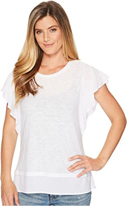 TWO by Vince Camuto Ruffle Sleeve Mixed Media Top