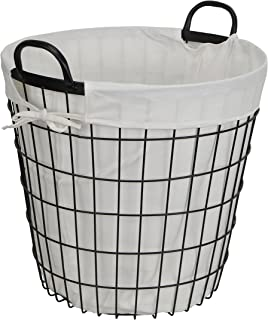 Cheung's 16S004 Lined Metal Wire Basket with handles, Black