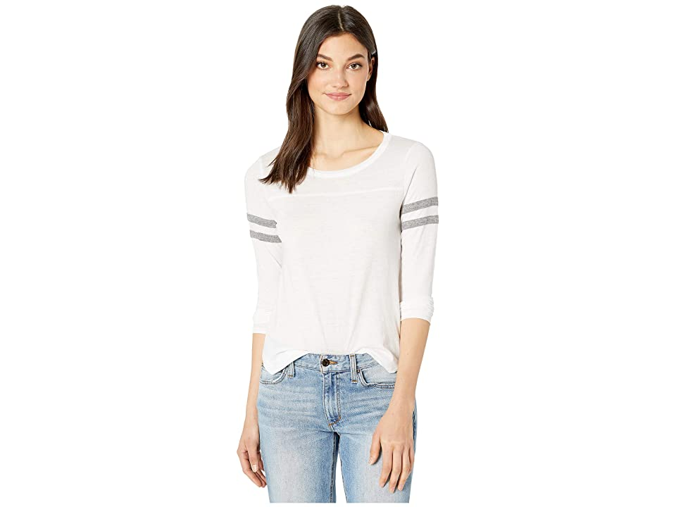 Chaser Blocked Jersey Long Sleeve Shirttail Tee (White/Streaky Grey) Women