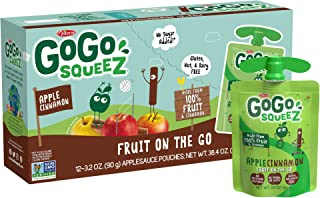 GoGo squeeZ Applesauce on the Go, Apple Cinnamon, 3.2 Ounce (12 Pouches), Gluten Free, Vegan Friendly, Unsweetened Applesauce, Recloseable, BPA Free Pouches (Packaging May Vary)