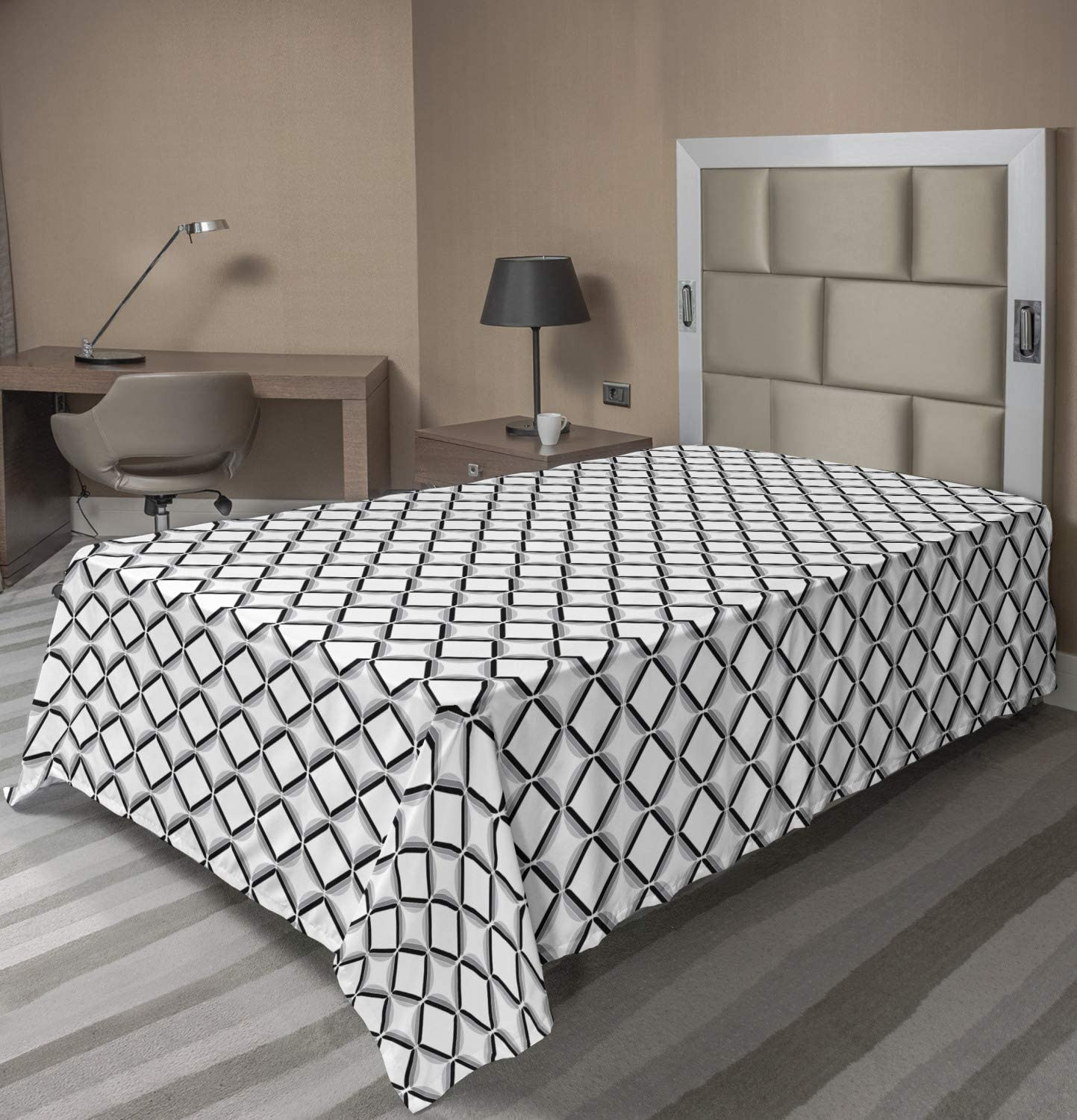 Ambesonne Geometric Flat Sheet Greyscale Pattern Simple Max 88% OFF Discount is also underway Design