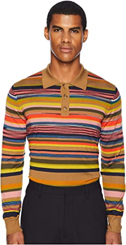 Forever Striped Long Sleeve Polo Sweater