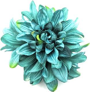 4.5 Teal Green Dahlia Silk Flower Brooch Pin