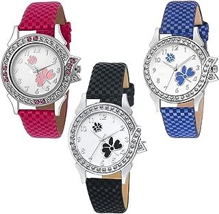 Raiyaraj Black-Pink-Blue Butterfly Diamond Dial Leather Belt Combo Watches for Girls-Women