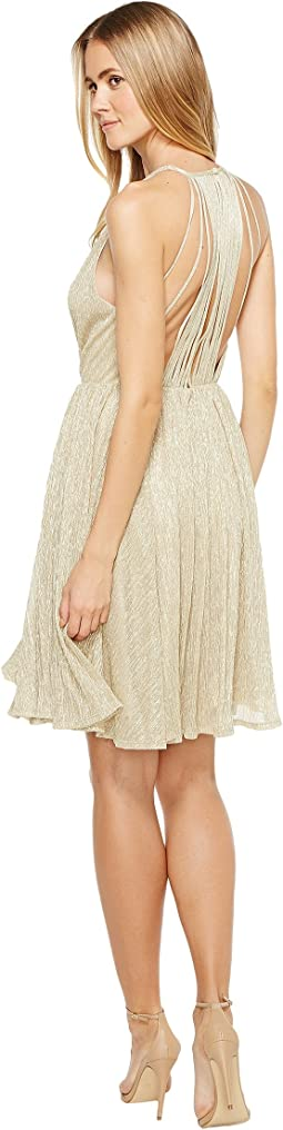 Halston Heritage - Sleeveless High Neck Texture Metallic Dress w/ Strap Detail