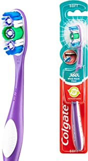 Colgate 360° Whole Mouth Clean Manual Toothbrush, 1 Pack, Soft Bristles, Compact Head with Cheek and Tongue Cleaner