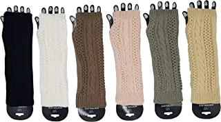 Arm Warmers, 3 Pairs for Women, Cable Knit Warm Winter Sleeve Fingerless Gloves, Premium Gift (Assorted B)
