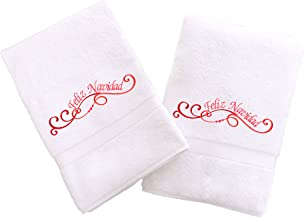 Linum Home Textiles Embroidered Hand Towels with Feliz Navidad Swirls (Set of 2), White, One Size