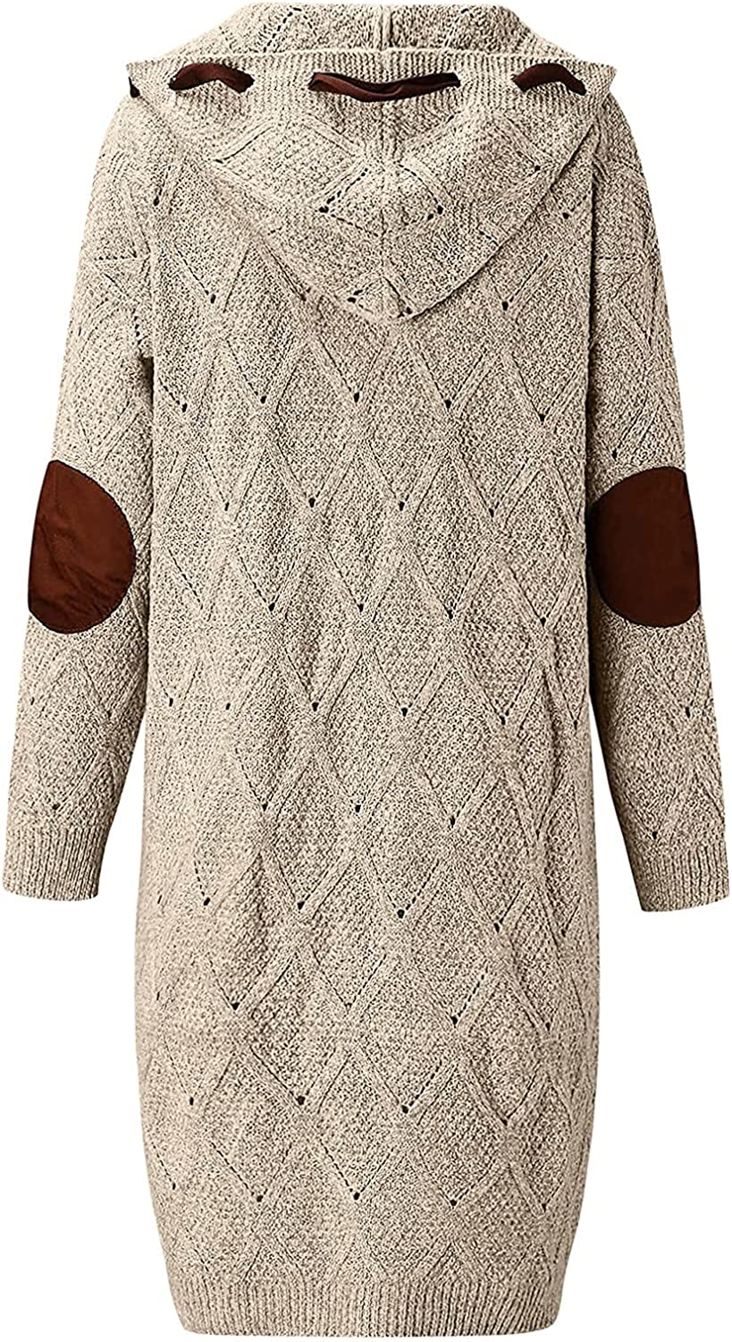 LLONG Women's Long Sleeve Cable Knit Cardigan Hoodie Sweater Casual Open Front Button Down Outwear Coats with Pockets