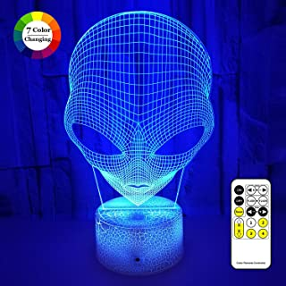 Alien 3D LED Illusion Lamp, Night Lights for Kids 7 Colors Changing Nightlight with USB Powered, Touch & Remote Control Best Birthday for Boys Girls Kids Baby