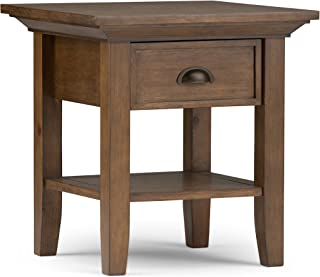 Simpli Home 3AXCADM-02 Redmond Solid Wood 19 inch Wide Square Rustic End Side Table in Rustic Natural Aged Brown