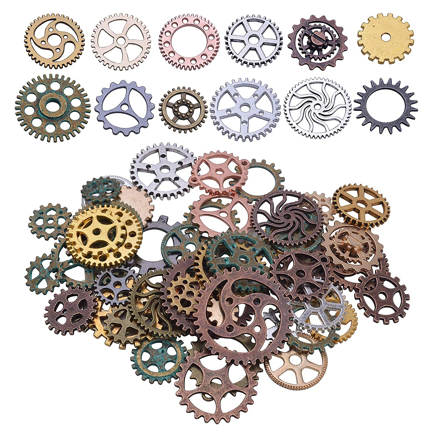 Jdesun 120g Assorted Steampunk Gears Charms Pendant Clock Watch Wheel Gear for Crafting, DIY Jewelry (Mixed 12 Colors)