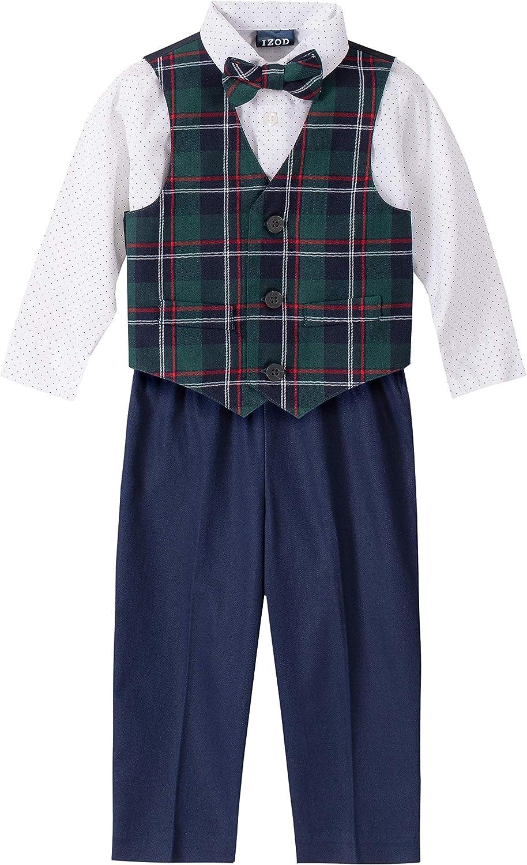 IZOD Boys 4-Piece Set with Dress Shirt, Bow Tie, Shorts, and Vest