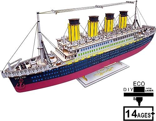 SXA 3D Modell Holzpuzzle, DIY Desktop Dekoration Titanic Modell P gogisches Spielzeug Kit Selbstmontage Puzzle Geschenk für Jungen mädchen