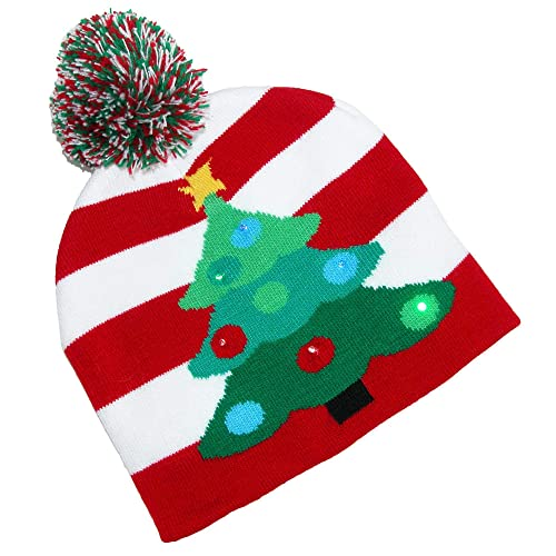 6efacd478ef DM Lotsa Lites LED Flashing Holiday Knitted Hat Light up Blinking Beanie