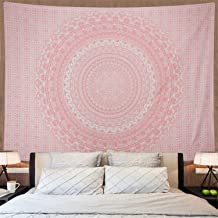 Amonercvita Tapestries Rose Gold Tapestry Pink Tapestry Wall Hanging Ombre Hippie Wall Tapestry Psychedelic Mandala Bohemian Tapestry Large Boho Tapestries for Bedroom Dorm Decor