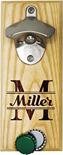 Personalized Wall Mount Bottle Opener Magnet Cap Catcher - Custom Engraved Groomsmen Wall Mounted Magnetic Gift (Maple, Original)