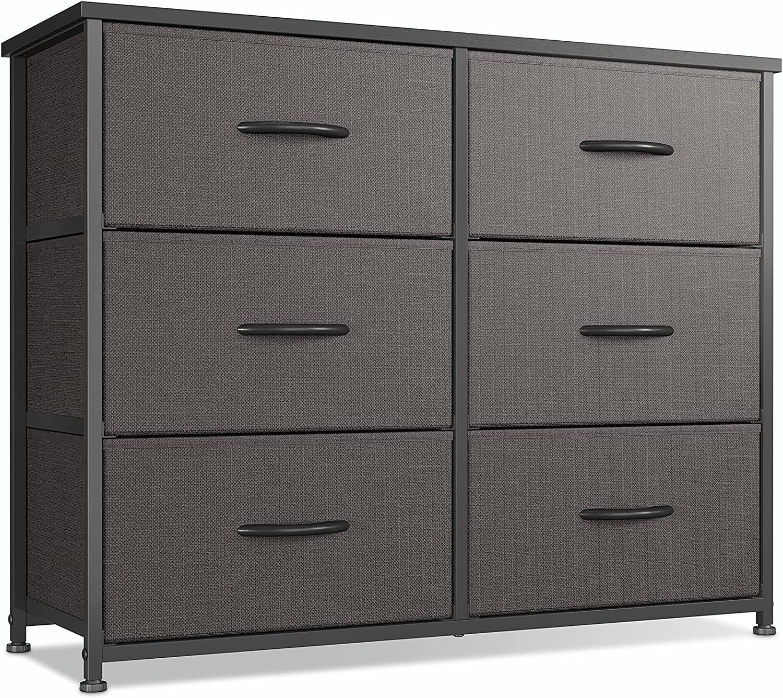 CubiCubi Dresser for Bedroom, 6 Drawer Storage Organizer Tall Wide Dresser for Bedroom Hallway, Sturdy Steel Frame Wood Top, Dark Grey