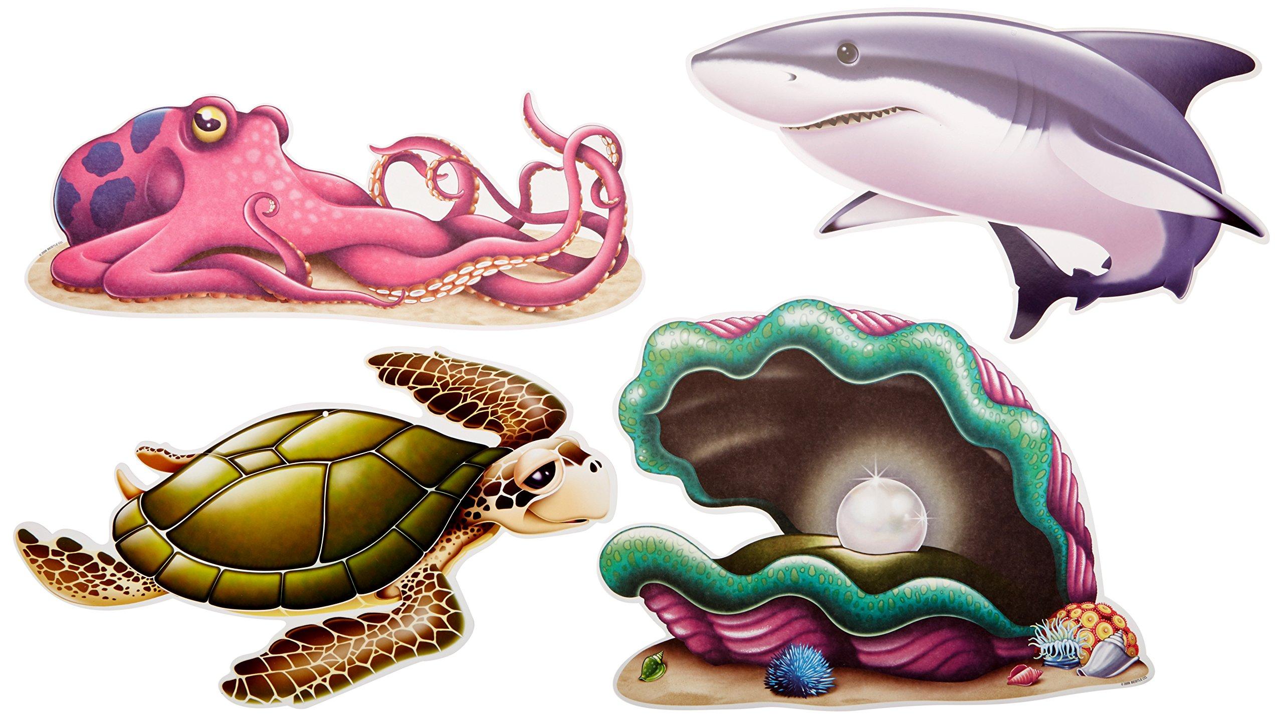 4-Pcs Beistle Sea Creatures Mini Centerpieces 5.5-Inch