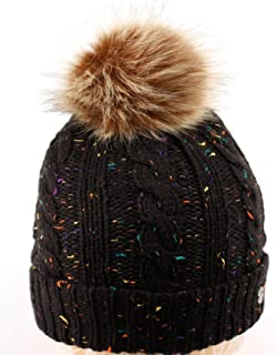 ANGELA & WILLIAM BN2347 Confetti Knit Beanie - Thick Soft Warm Winter Hat with Colorful Faux Fur Pompom