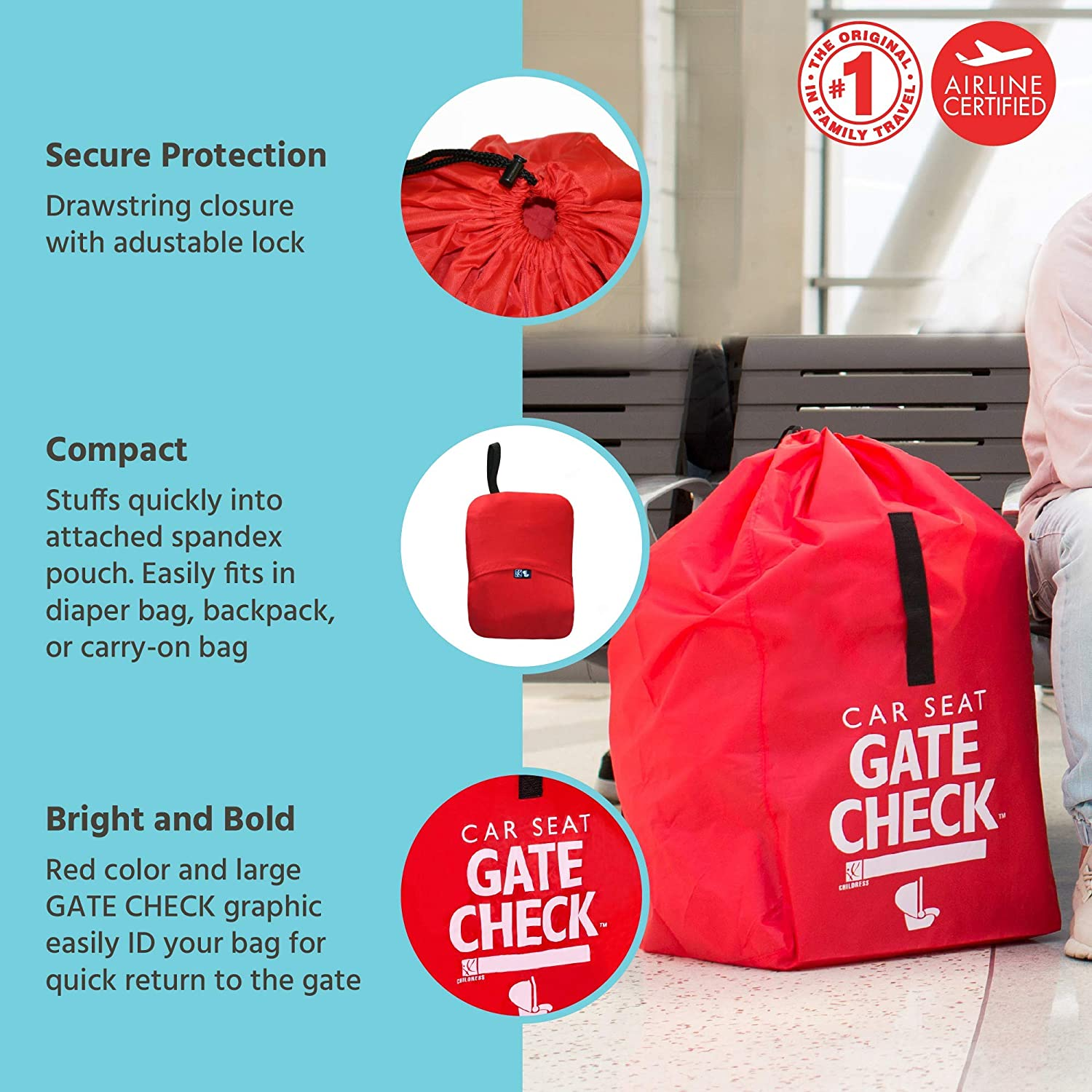 J.L Infant carriers /& Booster Seats Fits Convertible Car Seats Red Childress Gate Check Bag for Car Seats Air Travel Bag