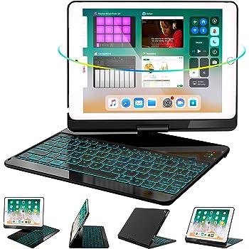 iPad Keyboard Case 9.7 for iPad 6th Gen 2018 - iPad 5th Gen 2017 - iPad Pro 9.7 - Air 2/ Air 1, 360 Rotate 7 Color Backlit Wireless iPad 9.7 inch Case with Keyboard, Auto Sleep Wake