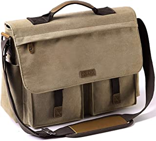 Messenger Bag for Men, VASCHY Vintage Water Resistant Waxed Canvas Satchel 15.6 inch Laptop Briefcase Shoulder Bag with Padded Shoulder Strap CAMEL