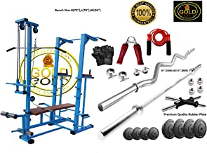 GOLD FITNESS ABS Tower with Push up DIPS and Workout with 20 in 1 Bench and 100 kg Rubber Weight and 3 ft Curl (20 mm) and 5ft, 25 mm, Plain Rod